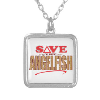 Angelfish Save Square Pendant Necklace