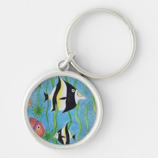 angelfish Silver-Colored round keychain