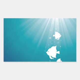 Angelfish Swimming in Sunbeam Rectangular Sticker