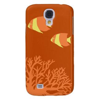 Angelfish tropical anaranjado y amarillo carcasa para galaxy s4
