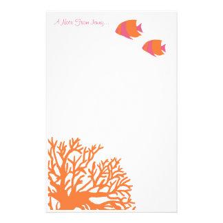 Angelfish tropical anaranjado y rosado papelería