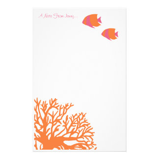 Angelfish tropical anaranjado y rosado  papeleria