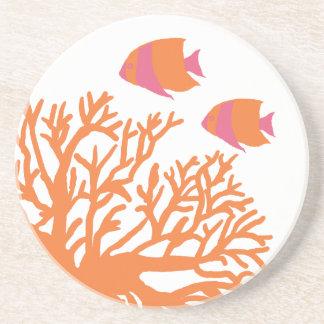 Angelfish tropical anaranjado y rosado posavasos personalizados