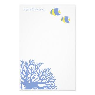Angelfish tropical azul y amarillo papelería