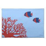 Angelfish tropical azul y rojo mantel individual