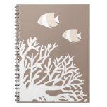 Angelfish tropical beige blanco y de marfil libros de apuntes con espiral