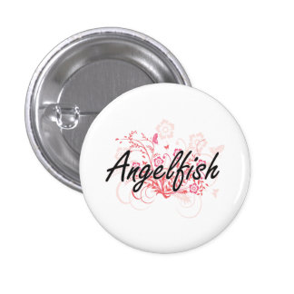 Angelfish with flowers background 1 inch round button