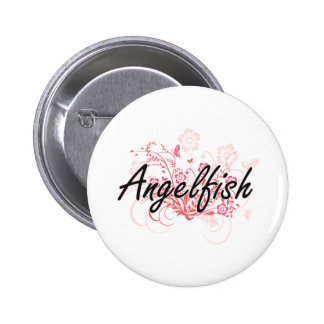 Angelfish with flowers background 2 inch round button
