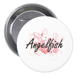 Angelfish with flowers background 3 inch round button