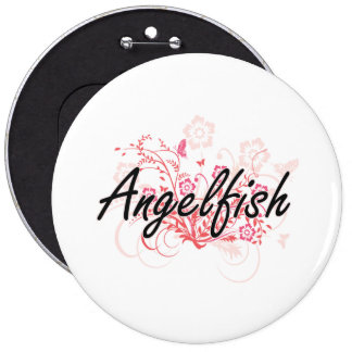 Angelfish with flowers background 6 inch round button