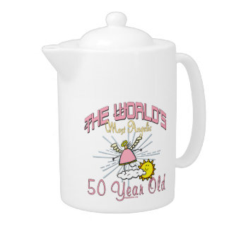 Angelic 50th Birthday Teapot