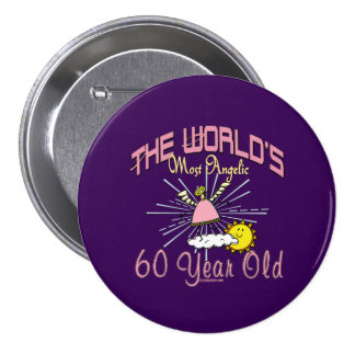 Angelic 60th Birthday Pinback Button