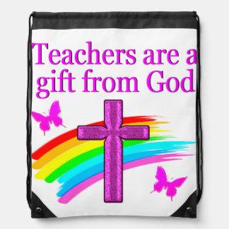 ANGELIC AND SPIRIT FILLED TEACHER DESIGN DRAWSTRING BACKPACK