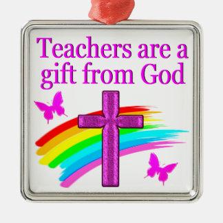 ANGELIC AND SPIRIT FILLED TEACHER DESIGN METAL ORNAMENT