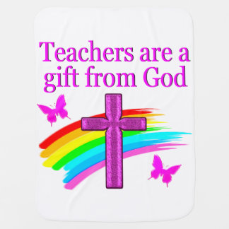ANGELIC AND SPIRIT FILLED TEACHER DESIGN RECEIVING BLANKET