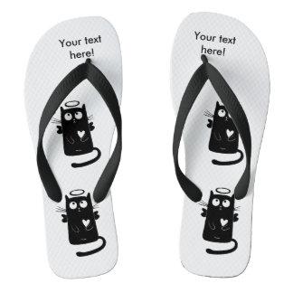 Angelic black cat cartoon flip flops