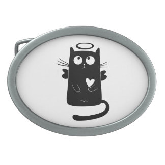 Angelic black cat cartoon oval belt buckle