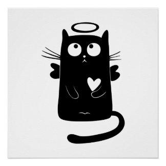 Angelic black cat cartoon poster