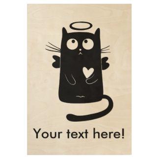 Angelic black cat cartoon wood poster