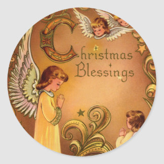 Angelic Christmas Blessings Classic Round Sticker