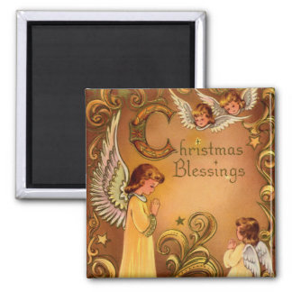 Angelic Christmas Blessings 2 Inch Square Magnet