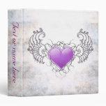 """Angelic Crystal purple heart 1""""5 Vinyl Binders"""
