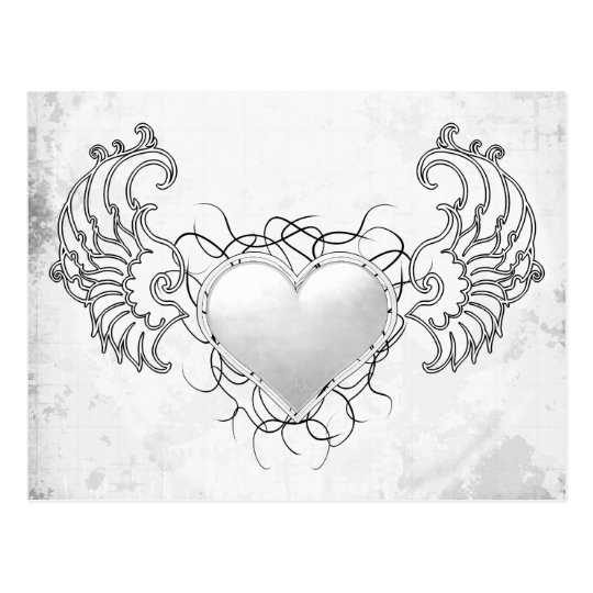 Angelic Crystal White heart Postcard