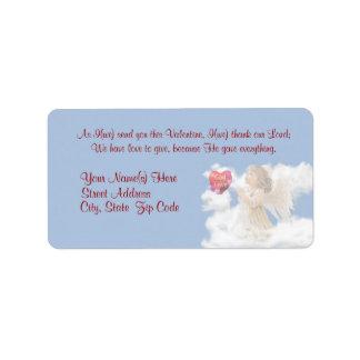 Angelic God Is Love - Religious Valentine Message Address Label