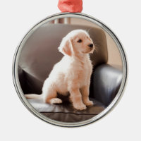 Angelic Golden Retriever Puppy Metal Ornament