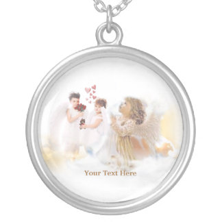 Angelic Heavenly Angels – Customize It! Round Pendant Necklace