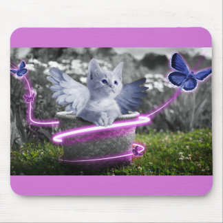 Angelic Kitten with Wings and Butterflies Mouse Pad