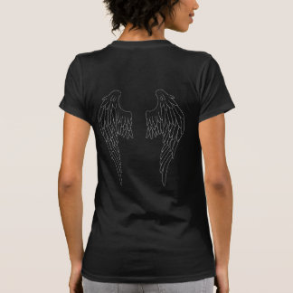 Angelic Large Feathered Wings- White Outline Shirt