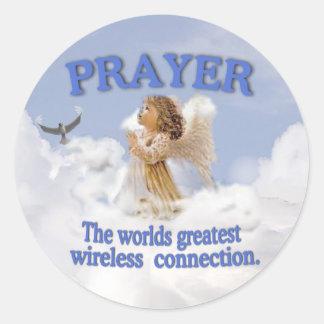 Angelic Prayer Worlds Greatest Wireless Connection Classic Round Sticker