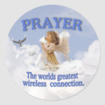 Angelic Prayer Worlds Greatest Wireless Connection Round Stickers
