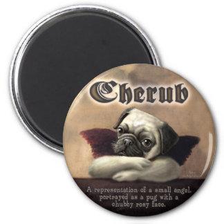 Angelic Pug Cherub Gift Items 2 Inch Round Magnet