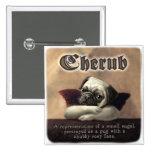 Angelic Pug Cherub Gift Items 2 Inch Square Button