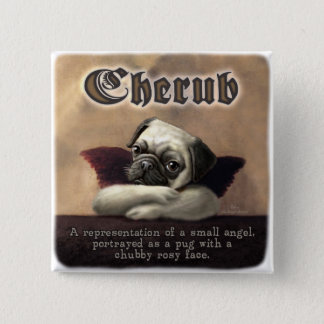 Angelic Pug Cherub Gift Items Button