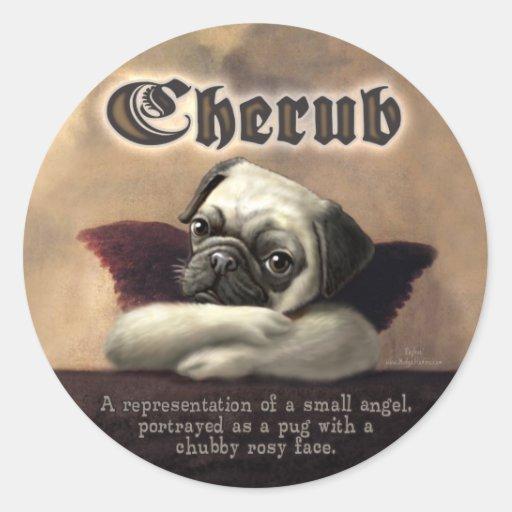 Angelic Pug Cherub Gift Items Stickers