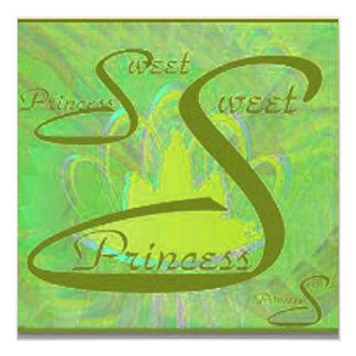 """Angelic S- 16Tiara Green Spectrum Invitation 5.25"""" Square Invitation Card"""