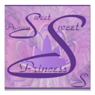 """Angelic S- 16Tiara Purple Spectrum Invitation 5.25"""" Square Invitation Card"""