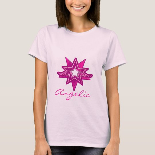 Angelic star ladies hot pink hues t-shirt