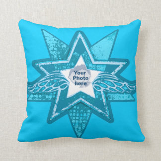 Angelic star teal blue add your own photo pillow