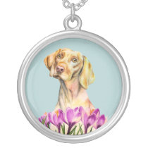 Angelic | Vizsla Dog and Crocus Watercolor Silver Plated Necklace