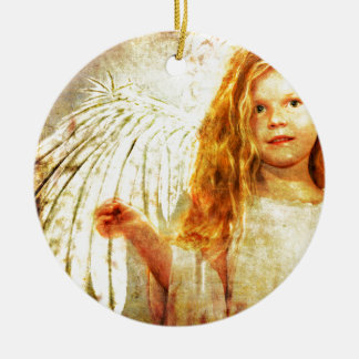 Angelic Wonder Double-Sided Ceramic Round Christmas Ornament