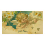 Angelica Elegant Business Card with Daisies Hearts