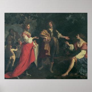 Angélica y el amarrar, Medoro, 1634 (aceite en lon Póster