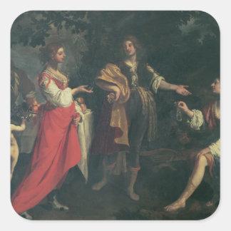 Angélica y el amarrar, Medoro, 1634 (aceite en Pegatina Cuadrada