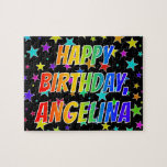 "[ Thumbnail: ""Angelina"" First Name, Fun ""Happy Birthday"" Jigsaw Puzzle ]"