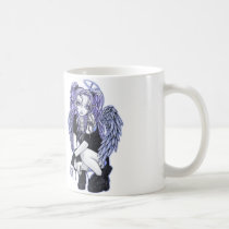 angel, angelina, halo, fairy, gothic, combat, boots, black, violet, blue, fantasy, Mug with custom graphic design