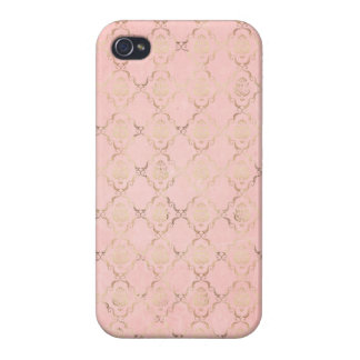 Angelina: Pink and Gold Damask Print iPhone 4 Case
